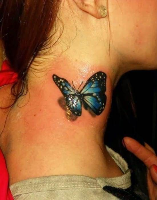 13-3D-colourful-realistic-butterfly-tattoo-on-neck1