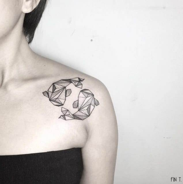 Geometric Sharks on Shoulder by Tattoo Me Pink