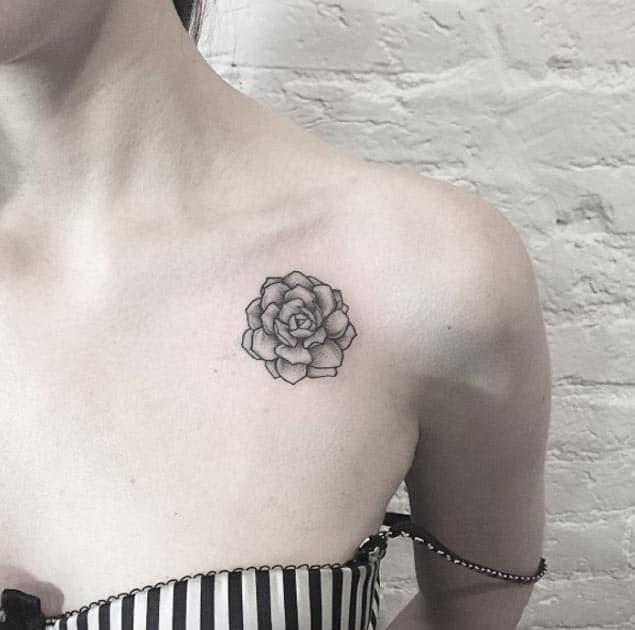 Succulent on Shoulder Tattoo by Anna Bravo