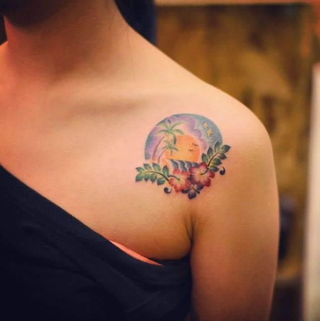 Hawaiian Shoulder Tattoo by Grain