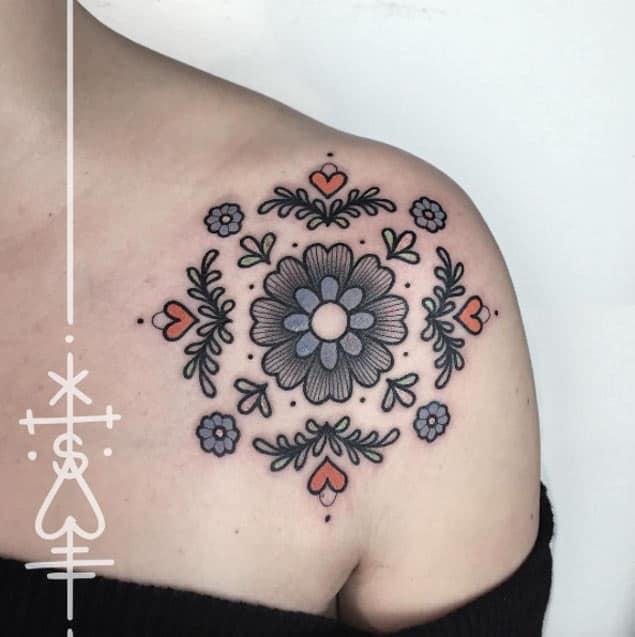 Floral Shoulder Tattoo by Sarah Herzdame