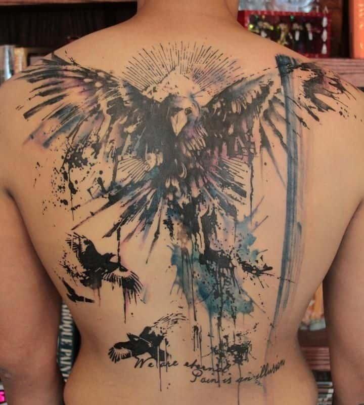 watercolor crow raven tattoo