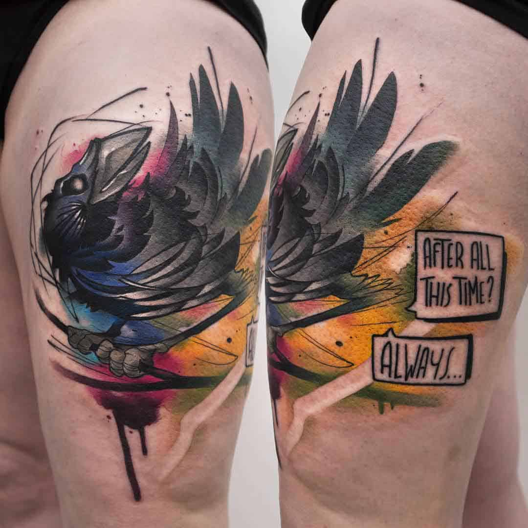 watercolor crow raven tattoo on thigh