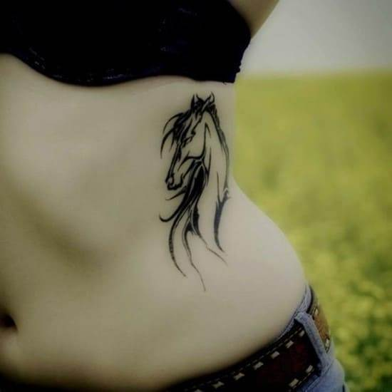 Black-Ink-Horse-Tattoo-For-Girl