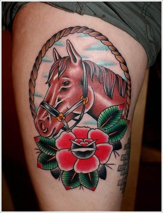 Horse-Flower-Tattoo