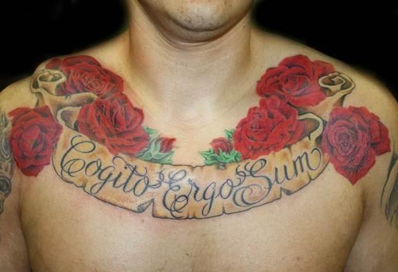 Rose Chest Tattoo