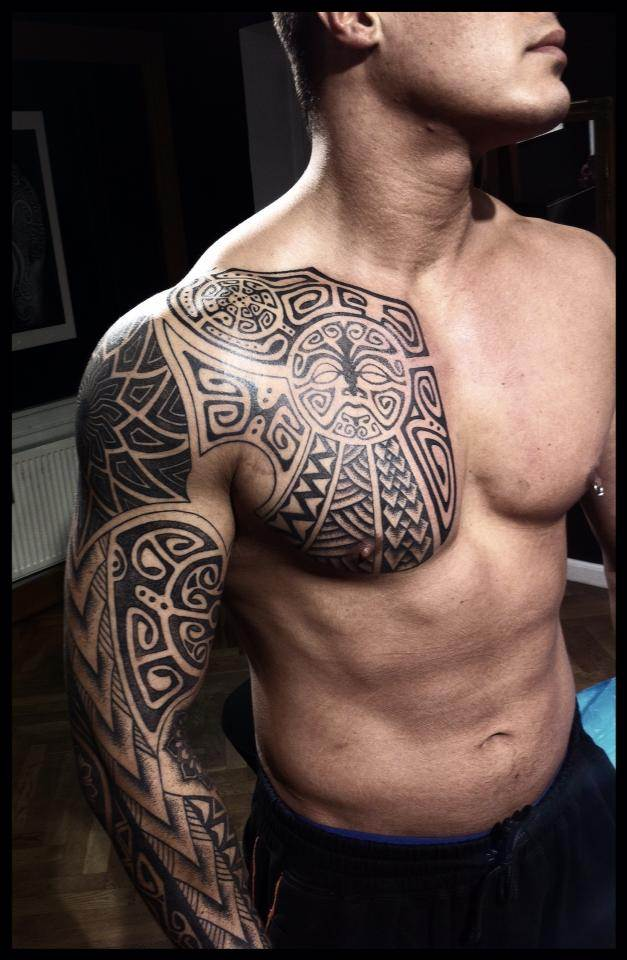 Polynesian Chest Tattoo
