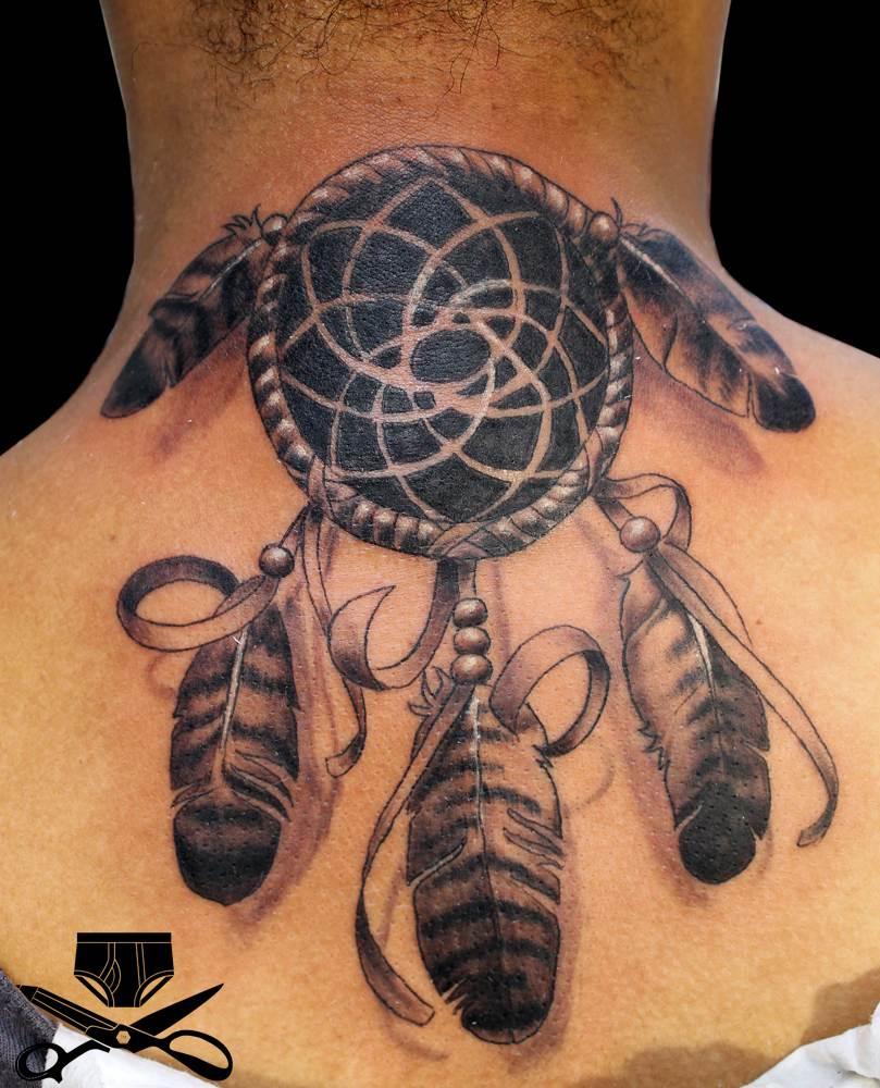 Dreamcatcher Tattoo Design on Neck