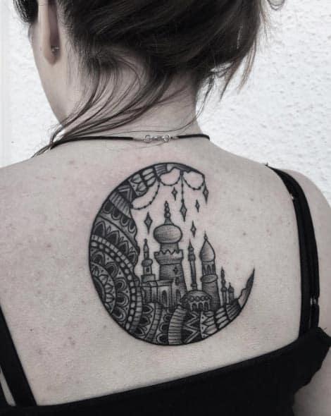 Mandala Moon Tattoo by Laura Weller