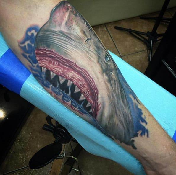 Great White Tattoo by Mike DeVries