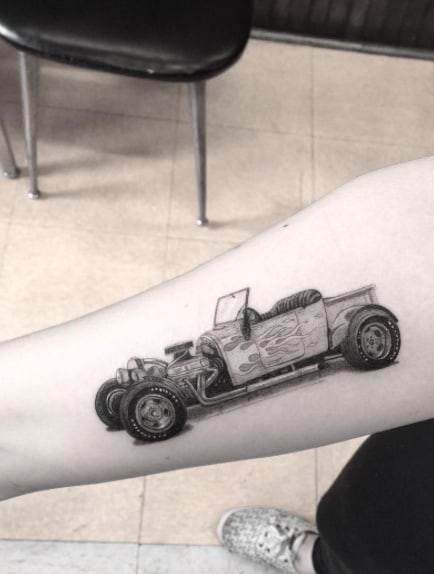 Vintage Hot Rod Tattoo by Doctor Woo