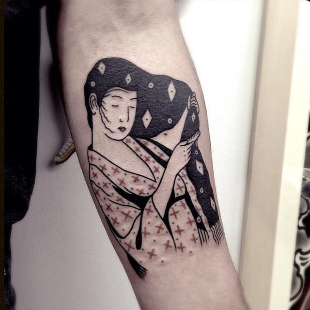 black and white geisha tattoo