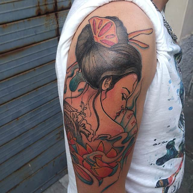 geisha on arm tattoo