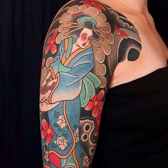 geisha arm tattoo