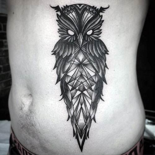 Geometric Owl Tattoo on Stomach
