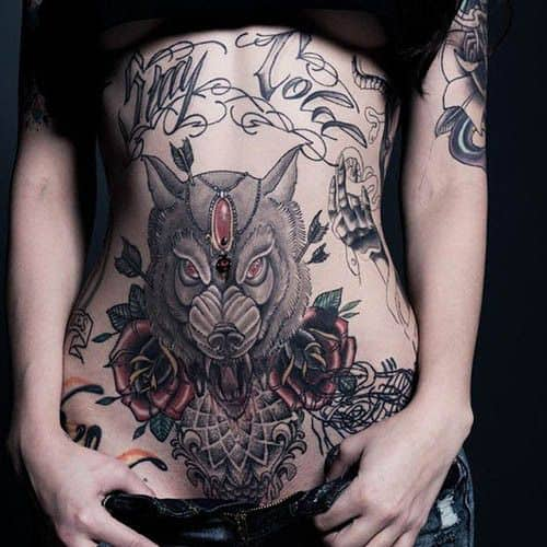 My Cold Wolf Stomach Tattoos