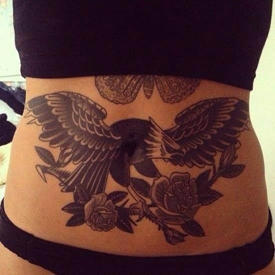 stomach-tattoo-eagle-roses