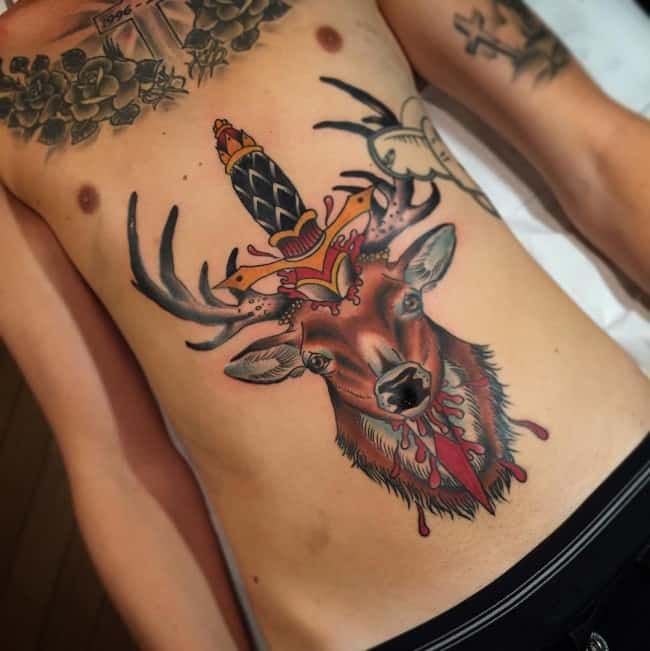 deer tattoo on stomach