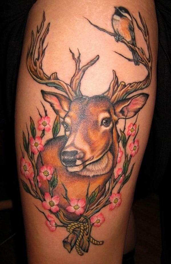 coloured deer tattoo