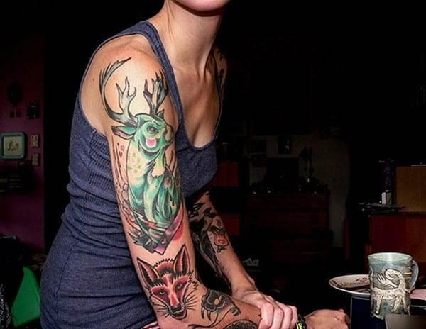 15-Deer-Sleeve-Tattoo-for-Women