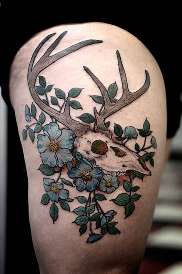 27-Stag-Skull-and-Flower-Tattoo