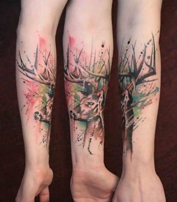38-Watercolor-Deer-Tattoo-on-Forearm