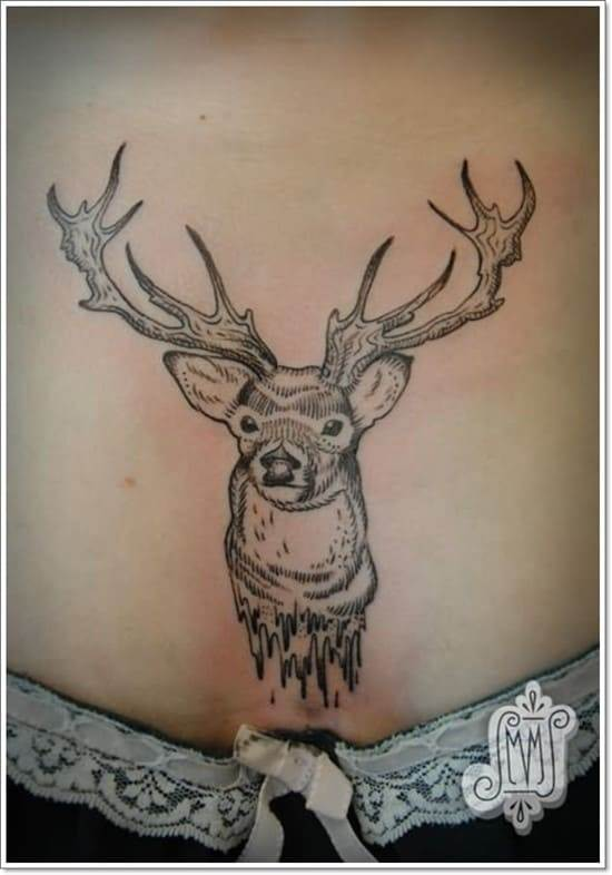deer-tattoo-on-lower-waist