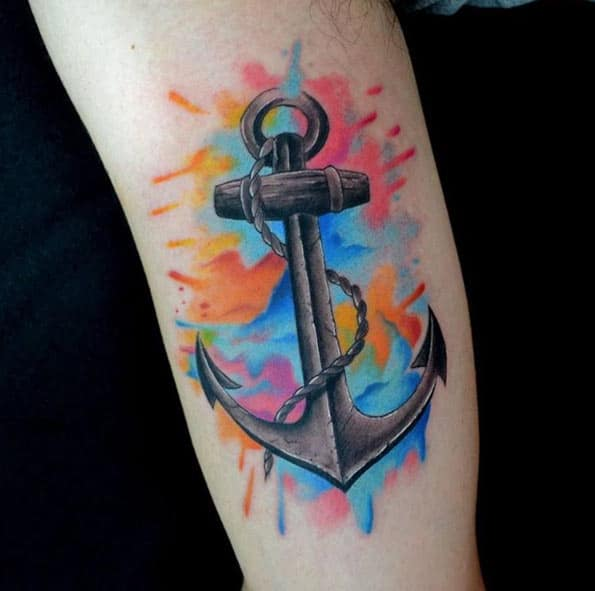 Colorful Watercolor Anchor Tattoo by Uilian Garcez