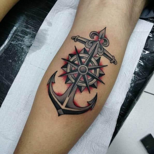 Anchor and Compass Tattoo by Eduardo Rodrigo