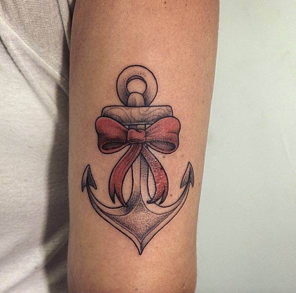 Anchor with Ribbon Tattoo by Michaella Schorr