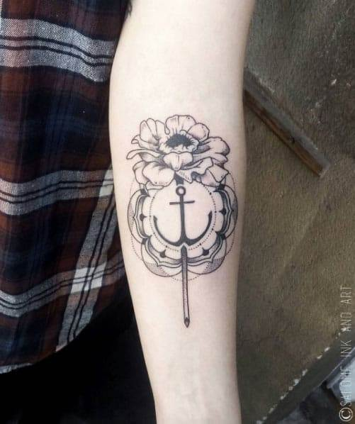 Floral Anchor Tattoo Design by Salome Trujillo