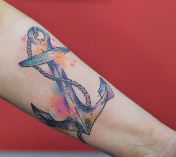 Watercolor Anchor Tattoo by Ciro Calì
