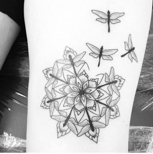dragonfly geometry tattoo