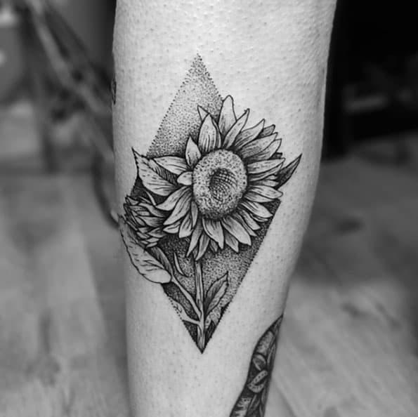 Dotwork Sunflower Tattoo Design by Tom Tom