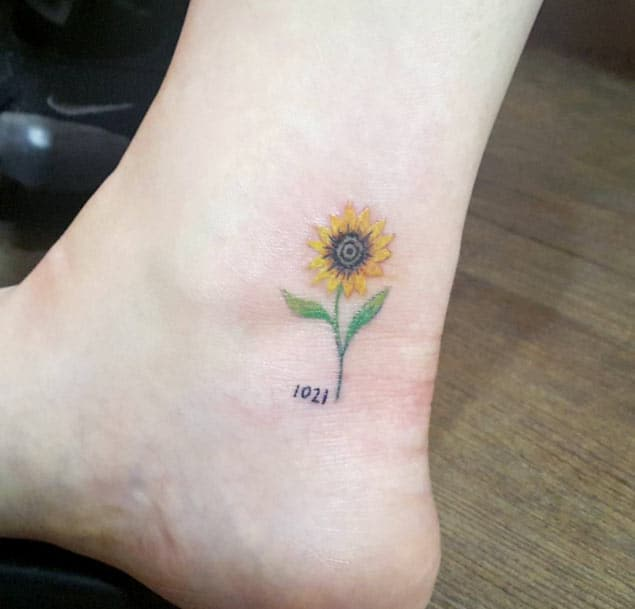 Sunflower Ankle Tattoo by Cheahwa