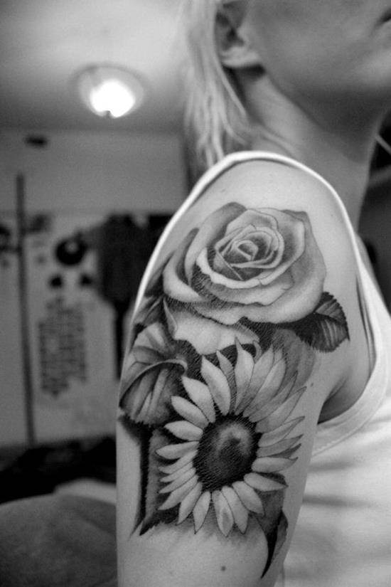 26-sunflower-and-rose-tattoo