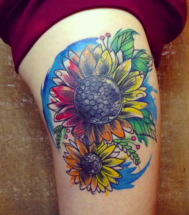 Watercolor Sunflower Tattoo Design by Sol