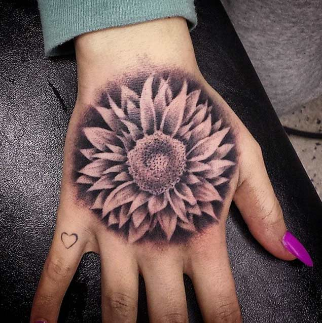 Sunflower Tattoo on Hand by Tanner Howard