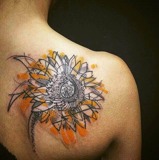 Freehand Sunflower Tattoo by LIDIA