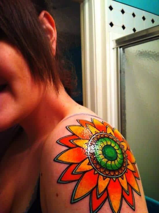 sunflower-tattoo-brightlycolored