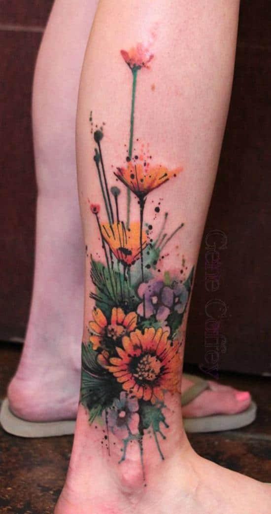 43-sunflower-leg-tattoo