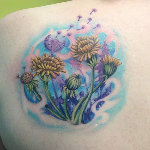 Gorgeous Dandelion Tattoo by Jessie Villars