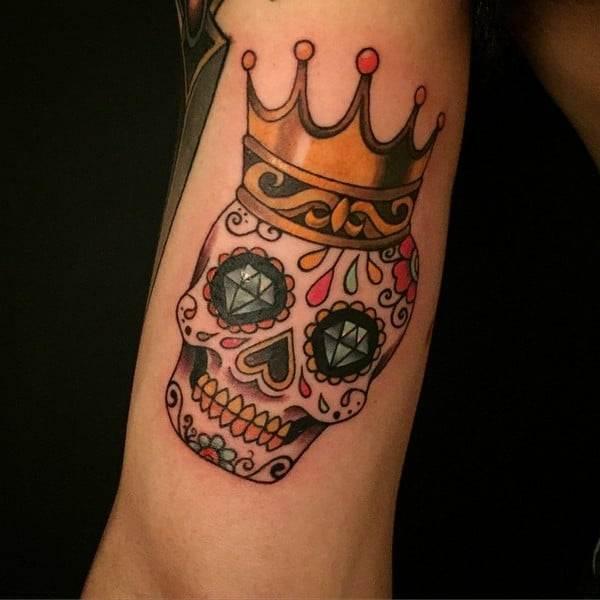 Black And White Sugar Skull Tattoo