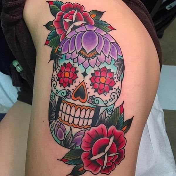Black And White Sugar Skull Tattoos