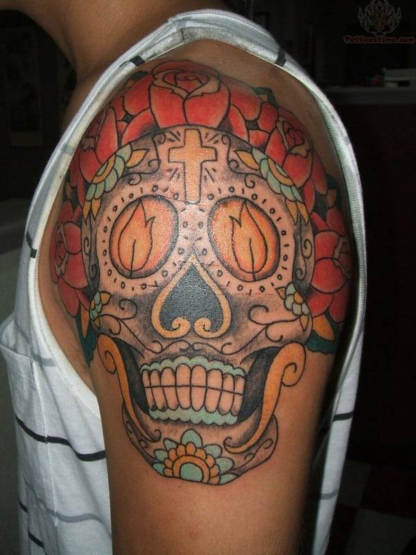 Burning Candles And Sugar Skull Tattoo On Shoulder