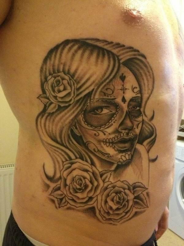 Sugar Skull Tattoo On Side