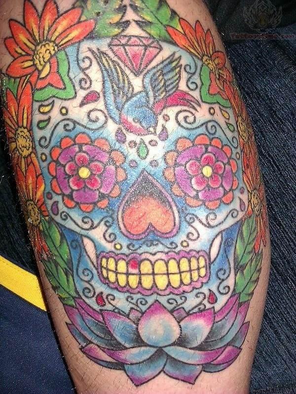 Lotus Sugar Skull Tattoo