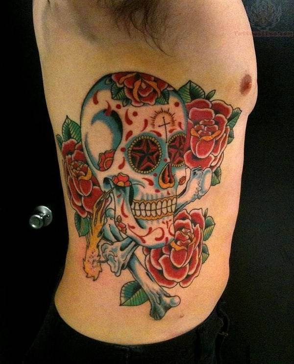 Sugar Skull Roses Tattoo On Side Rib