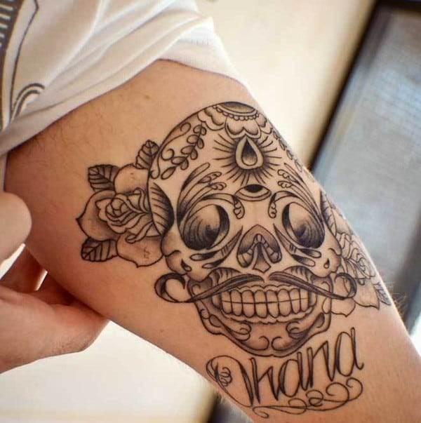Sugar Skull Tattoo Designs Rose