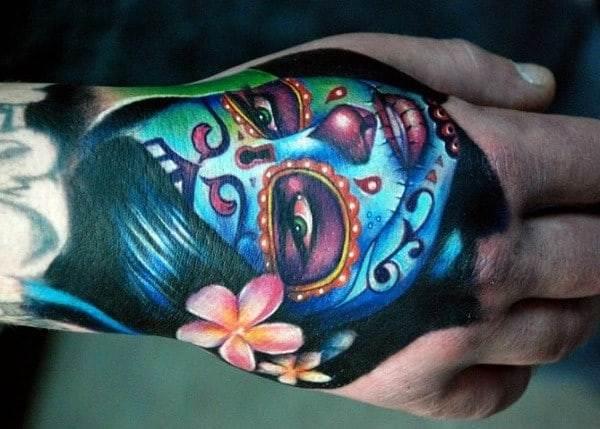 Sugar Skull Tattoo For Hand